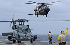 RAN MH-60R Romeo and MRH-90 TTH helos on HMAS Adelaide