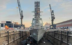HMAS Brisbane in dry dock