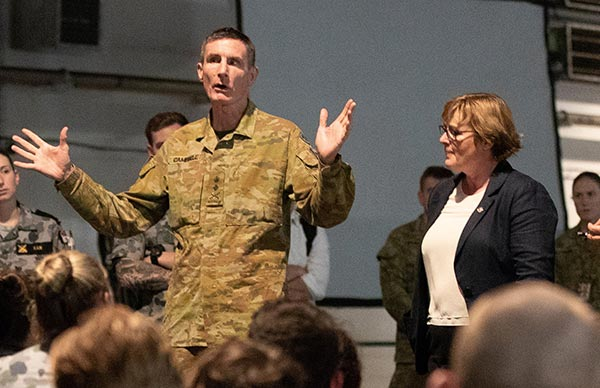 CDF Gen Angus Campbell and Minister of Defence Linda Reynolds make excuses