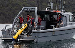 Bluefin 9 AUV and Mine Countermeasures Support Boat