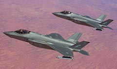 RAAF 3 Squadron F-35A Lightning II Joint Strike Fighters over the outback.