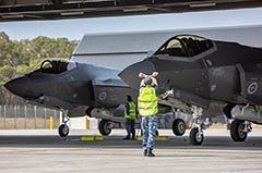 RAAF F-35A Lightning IIs A35-013 and A35-014